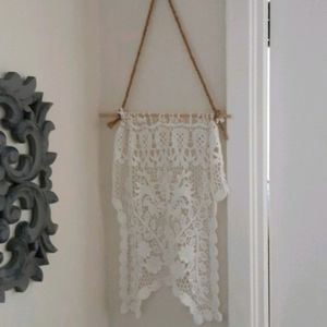 Cozy pretty floral lace wall hanging white